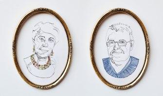 Portraits de mes parents. Dessin et broderie sur papier
