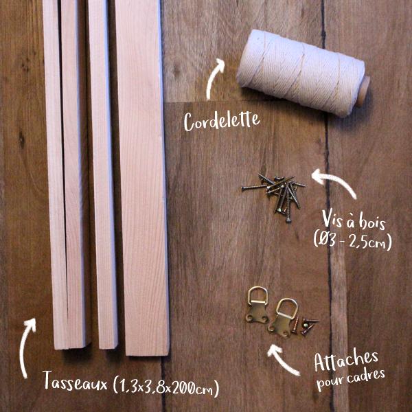 materiaux necessaire à la fabrication du presentoir à revue